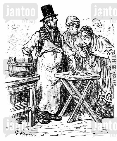 victorian working classes cartoon humor: Oyster Vendor