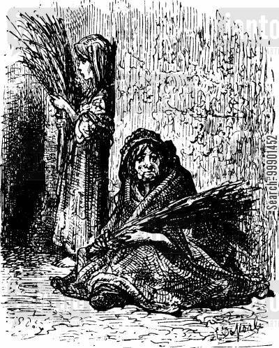 victorian working classes cartoon humor: Destitute Mother and Daughter Selling Brush