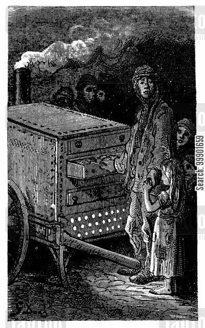 victorian working classes cartoon humor: Baked Potato Seller
