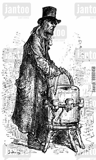 victorian working classes cartoon humor: Lemonade Vendor on London Street