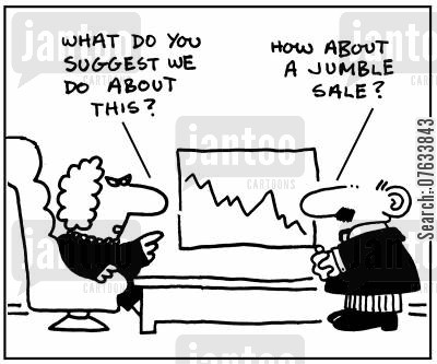 jumble sale cartoon humor: What do you suggest we do about this?