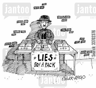 pack of lies cartoon humor: A stall selling lies.
