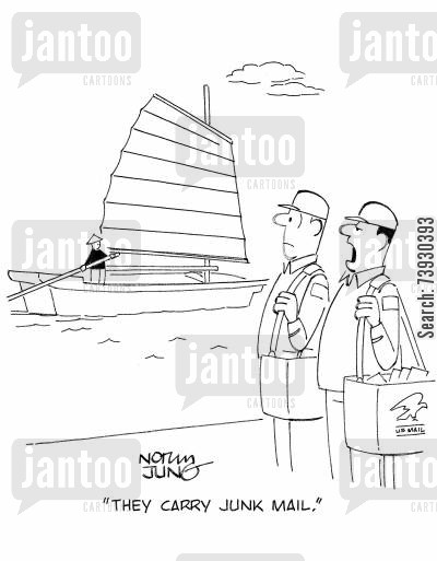 imports cartoon humor: 'They carry junk mail.'