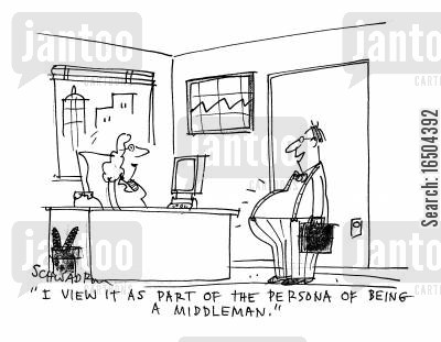 persona cartoon humor: 'I view it as part of the persona of being a middleman.'