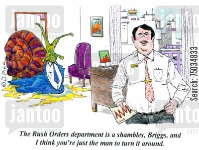 challenge cartoon humor: 'The Rush Orders department is a shambles, Briggs, and I think you're just the man to turn it around,'