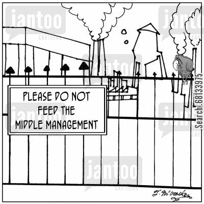 middle cartoon humor: Please do not feed the middle management