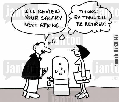scheming cartoon humor: I'll review your salary next spring...