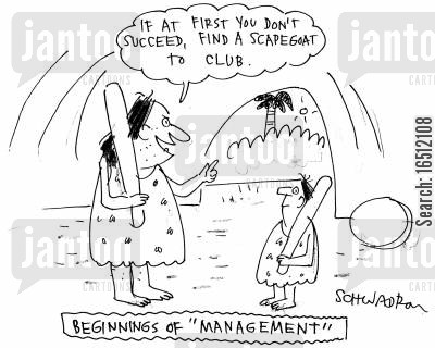 business management cartoon humor: 'If at first you don't succeed, find a scapegoat to club.'