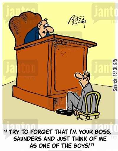 supervise cartoon humor: 'Try to forget that I'm your boss, Saunders and just try to think of me as one of the boys!'