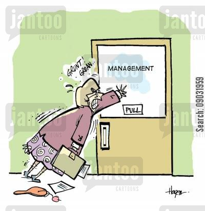 pulls cartoon humor: Management pushing on door marked pull.