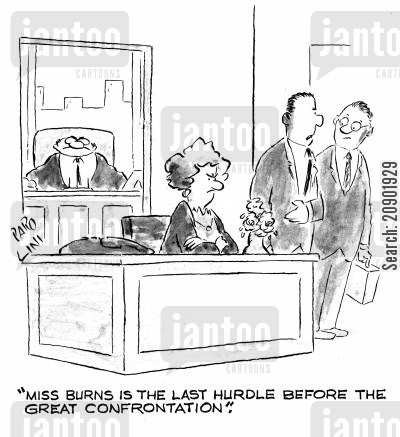 confrontation cartoon humor: 'Miss Burs is the last hurdle before the great confrontation.'