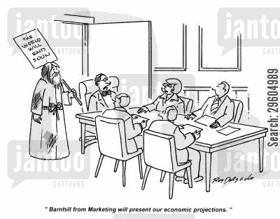 presenting cartoon humor: 'Barnhill from Marketing will present our economic projections.'