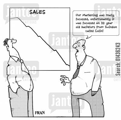 marketing strategies cartoon humor: 'Our Marketing was really focussed, unfortunately it was focussed on 32 year old bachelors from Swindon called Colin.'