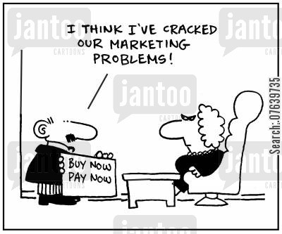 marking department cartoon humor: 'I think I've cracked our marketing problem.'