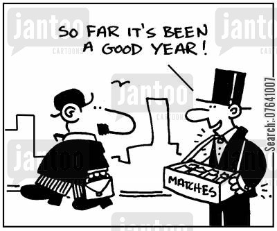 tailed suits cartoon humor: 'So far it's been a good year.'