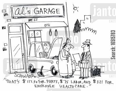 car bill cartoon humor: 'That's $117.50 for parts, $75 labor, and $321 for employee health care.'