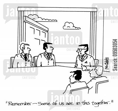 sharer cartoon humor: 'Remember - some of us are in this together.'