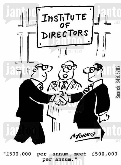 income per annum cartoon humor: Institute of Directors - 500,000 per annum, meet �500,000 per annum.