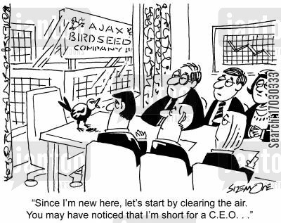 birdseeds cartoon humor: 'Since I'm new here, let's start by clearning the air. You may have noticed that I'm short for a C.E.O. . .'
