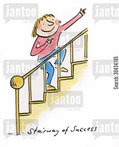 stairway cartoon humor: Stairway of Success
