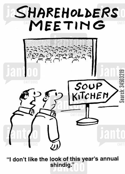 shareholders cartoon humor: Shareholders Meeting - I don't like the look of this year's annual shindig.