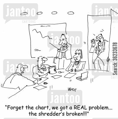 legality cartoon humor: Forget the chart, we got a real problem, the shredder's broken!