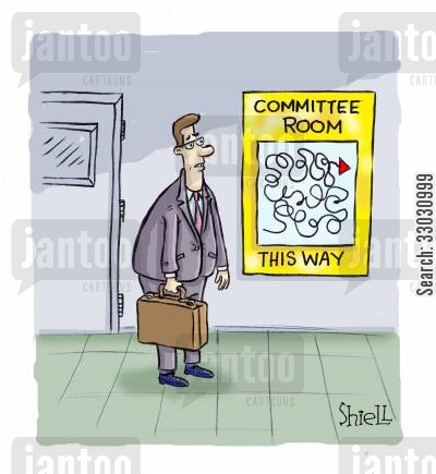 red tape cartoon humor: Committee room this way.