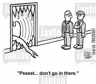 mentoring cartoon humor: 'Psssst... don't go in there.'