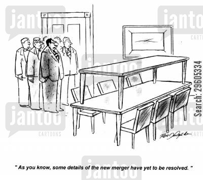merger cartoon humor: 'As you know, some details of the new merger have yet to be resolved.'