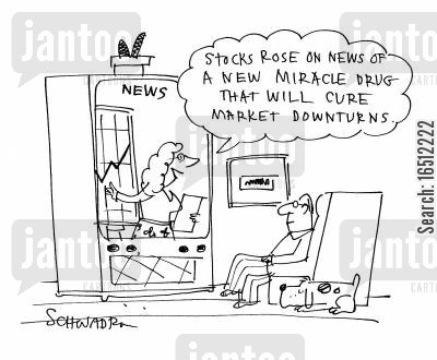 miracle drugs cartoon humor: 'Stocks rose on news that a new miracle drug that will cure market downturns.'