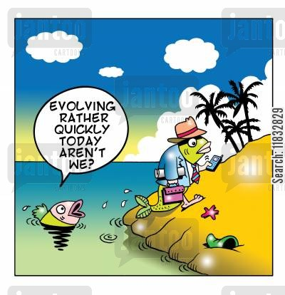 advanced technology cartoon humor: Evolving rather quickly today aren't we?