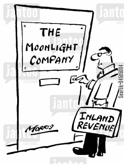 moonlighting cartoon humor: Inland Revenue visiting the moonlight company.