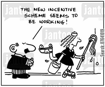 performance review cartoon humor: 'The new incentive scheme seems to be working.'