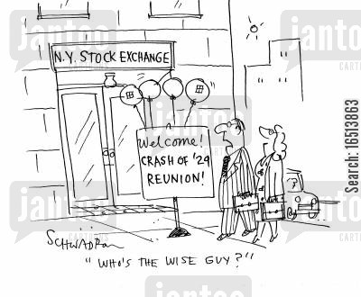 new york stock exchange cartoon humor: 'Who's the wise guy?'