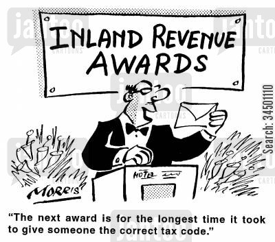 tax code cartoon humor: Inland Revenue Awards - The next award is for the longest time it took to give someone the correct tax code.