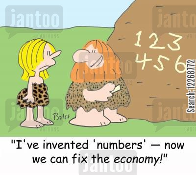 preshistoric cartoon humor: 123456, 'I've invented 'numbers' -- now we can fix the economy!'
