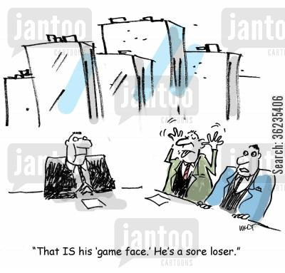 bargaining cartoon humor: That IS his game face. He's a sore loser.