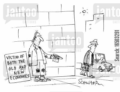 new economies cartoon humor: A victim of both the old and new economies.