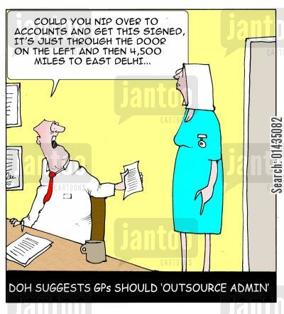 nhs budget cartoon humor: DOH suggests GPs should 'outsource' to save costs.