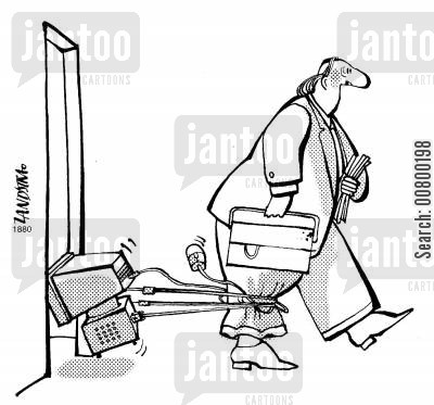 tangle cartoon humor: Man leaving his office with his computer tangled around his leg,