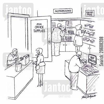 office supply cartoon humor: Office supplies - Notebooks, memo pads and rap sheets.