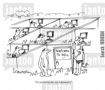 open plan cartoon humor: Welcome to Hell.