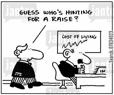 living cost cartoon humor: Guess who's hinting for a raise.