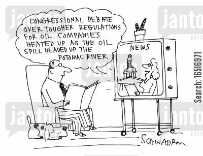oil companies cartoon humor: 'Congressional debate over tougher regulations for oil companies. . .'
