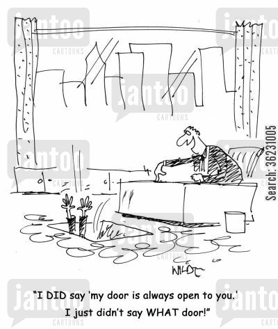 bad bosses cartoon humor: I DID say 'my door is always open to you. I just didn't say WHAT door!