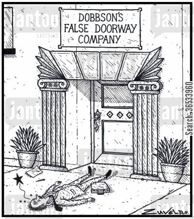 knocked out cartoon humor: Dobbson's False Doorway Company A man has walked into an actual painted Trompe l'oeil False Doorway and has got knocked out .
