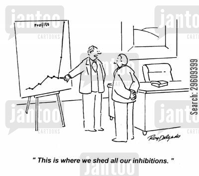 outlook cartoon humor: 'This is where we shed all our inhibitions.'