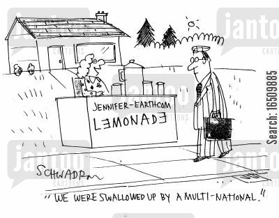 own business cartoon humor: 'We were swallowed up by a multi-national.'