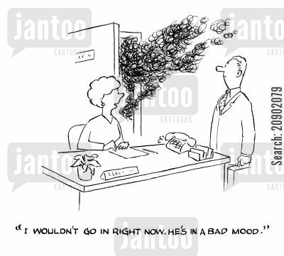 bad bosses cartoon humor: 'I wouldn't go in right now. He's in a bad mood.'