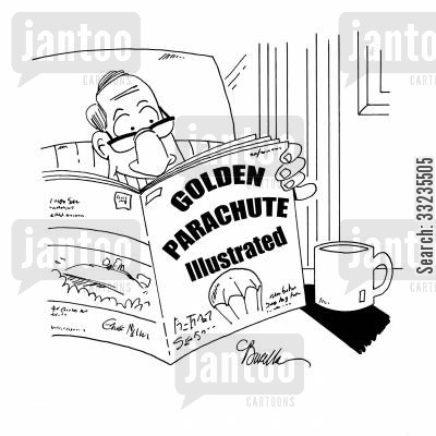 golden parachute cartoon humor: Golden Parachute Illustrated.